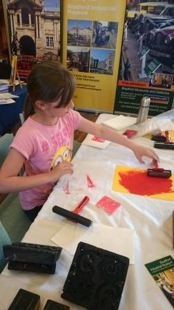 Woodblock rubbing/printmaking with Friends of Bradford Art Galleries and Museums.